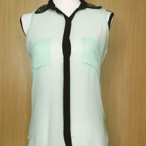 Sheer Light Green With Metal Studs Top Size S